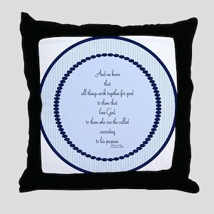 Romans 8 28 Bible Verse blue Throw Pillow