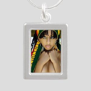 Ethiopian Girl Silver Portrait Necklace