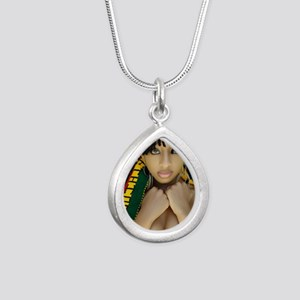 Ethiopian Girl Silver Teardrop Necklace