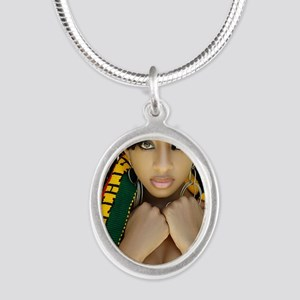 Ethiopian Girl Silver Oval Necklace