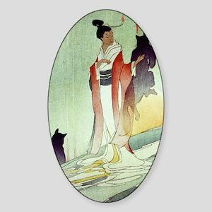 Fox Woman Large Sticker (Oval)