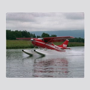 Float plane taking off, Alaska Throw Blanket