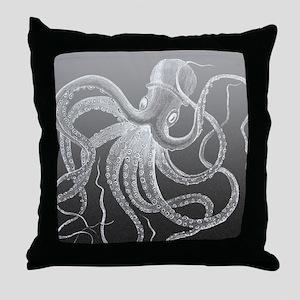 sea monster brown gray Throw Pillow