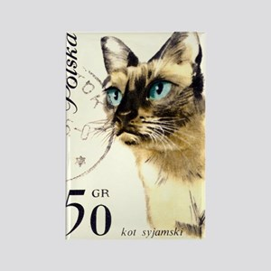 1964 Poland Siamese Cat Postage S Rectangle Magnet