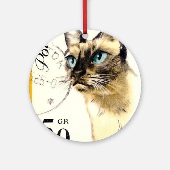 1964 Poland Siamese Cat Postage Sta Round Ornament