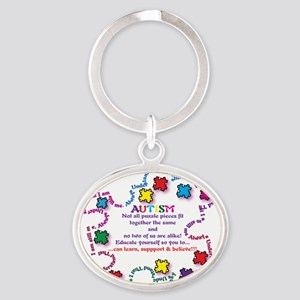 Puzzle Pieces No Two Alike Oval Keychain