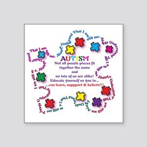 "Puzzle Pieces No Two Alike Square Sticker 3"" x 3"""