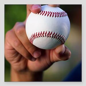 "Hand holding baseball Square Car Magnet 3"" x 3"""