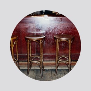 Bar Stools in Pub Round Ornament