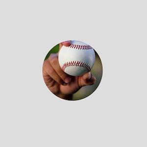 Hand holding baseball Mini Button