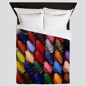 Box of crayons, elevated view, (Close- Queen Duvet