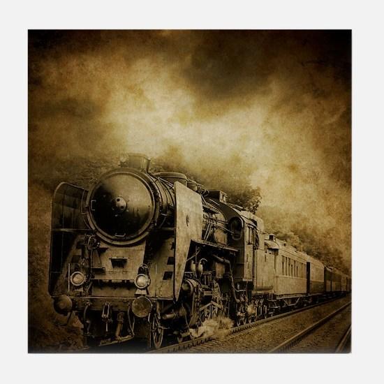 dark locomotive Tile Coaster