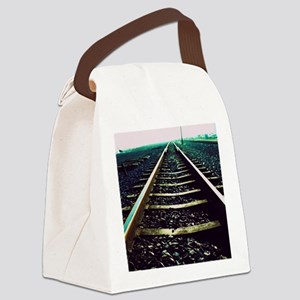 Close-up of railway tracks Canvas Lunch Bag