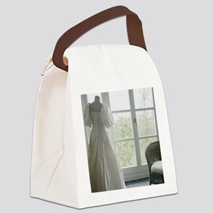 Wedding Gown on Dressmakers Model Canvas Lunch Bag
