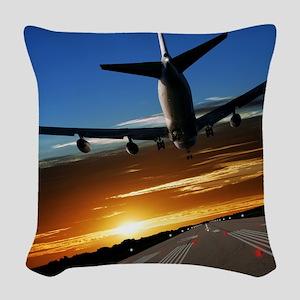 XL jumbo jet airplane landing  Woven Throw Pillow