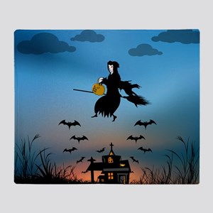 Church with witch and bats at sunset Throw Blanket