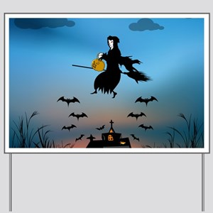 Church with witch and bats at sunset Yard Sign