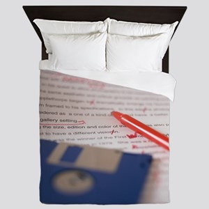 Essay paper with floppy diskettes lyin Queen Duvet