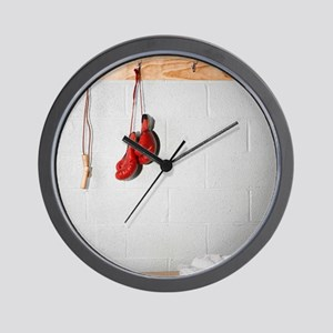Exercise Equipment in a Locker Room Wall Clock