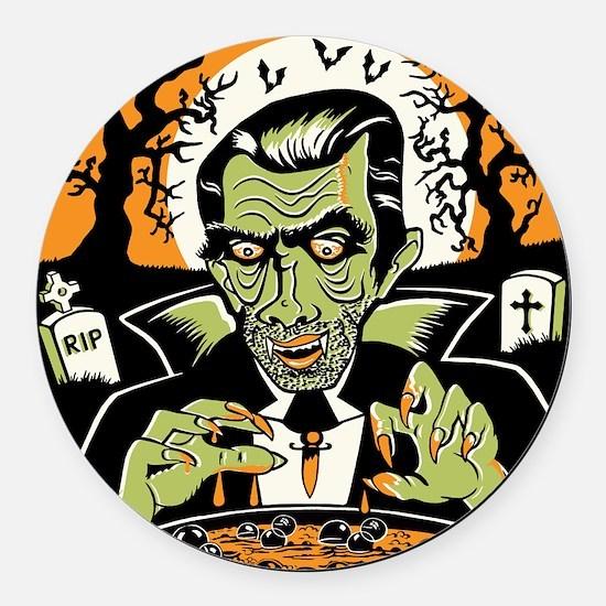 Vampire at Cauldron on Halloween Round Car Magnet