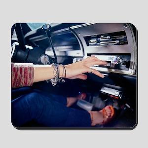 Woman Using Car Stereo Mousepad