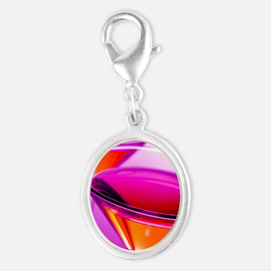 Two Red martini's in pink glass Silver Oval Charm