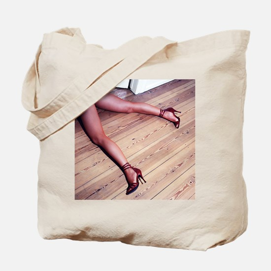 Woman's Legs in Fishnet Stockings on Hard Tote Bag