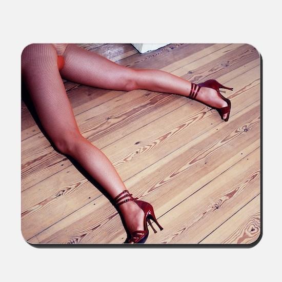 Woman's Legs in Fishnet Stockings on Har Mousepad