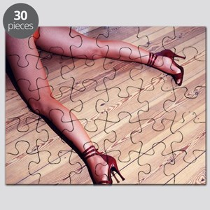 Woman's Legs in Fishnet Stockings on Hardwo Puzzle