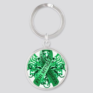I Wear Green for Myself Round Keychain