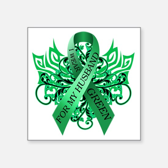 """I Wear Green for my Husband Square Sticker 3"""" x 3"""""""