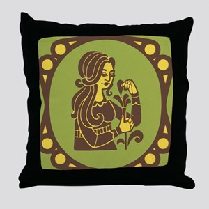 Virgo Zodiac Symbol Throw Pillow