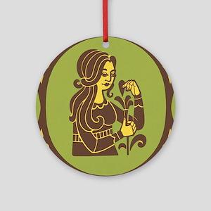 Virgo Zodiac Symbol Round Ornament