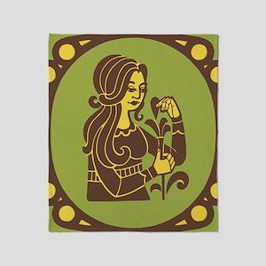 Virgo Zodiac Symbol Throw Blanket