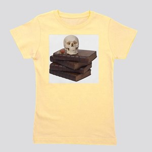 stack of books with skull Girl's Tee