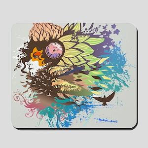 flower design element on Woman hair Mousepad