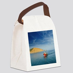 Fishing Boat Moving Through Ocean Canvas Lunch Bag
