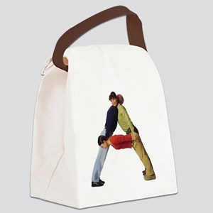 three young adults in colorful cl Canvas Lunch Bag