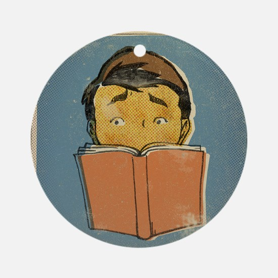 Illustration of a man reading a boo Round Ornament