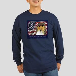 Collie US Flag Patriotic Long Sleeve Dark T-Shirt