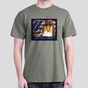 Collie US Flag Patriotic Dark Colored T-Shirt