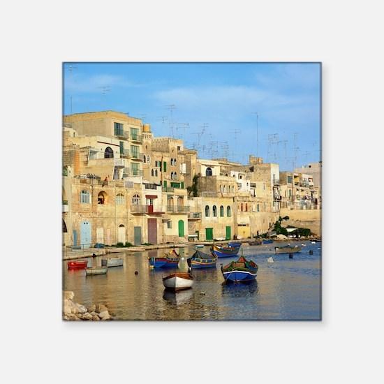 """Saint Julian's Bay in Malta Square Sticker 3"""" x 3"""""""