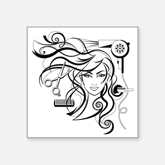 "hair style Square Sticker 3"" x 3"""