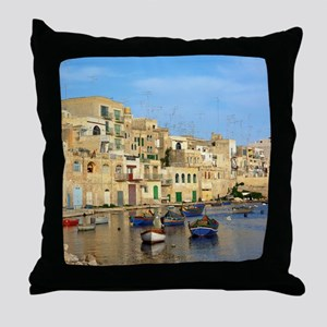 Saint Julian's Bay in Malta Throw Pillow