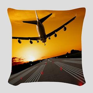 Jumbo jet airplane landing at  Woven Throw Pillow