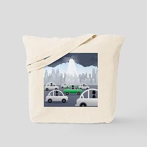 Sunbeam falling on a green car among othe Tote Bag