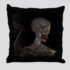 Spooky Skeleton with Blood on Mouth a Throw Pillow