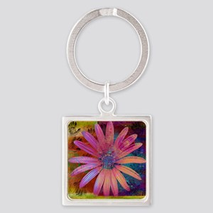 Pink flower with human hand in bac Square Keychain