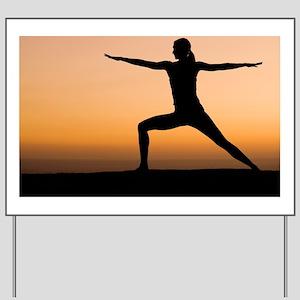 Silhouette of woman doing yoga Yard Sign