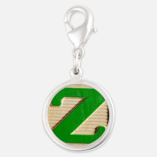 Letter Z Silver Round Charm